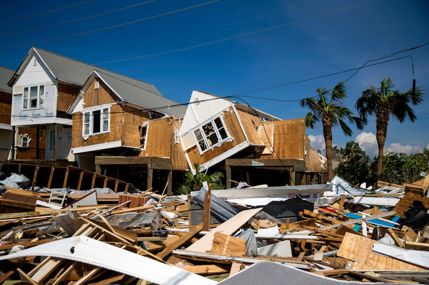 Wreckage and debris left by Hurricane Michael in Mexico Beach, Fla., on Thursday, Oct. 11, 2018.  A vast search-and-rescue operation was underway on Thursday after Hurricane Michael cut a brutal path through the Florida Panhandle, leaving communities in its wake to confront splintered homes, twisted metal and flooding that reached to the rooftops of some homes. (Eric Thayer/The New York Times)