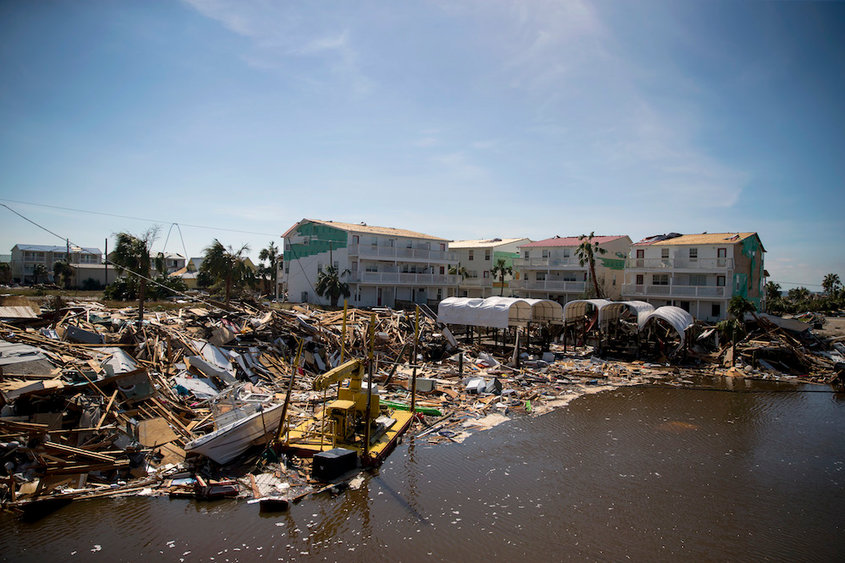 Wreckage and debris in Mexico Beach, Fla., on Thursday, Oct. 11, 2018.  Search-and-rescue teams rushed on Thursday to reach communities that Hurricane Michael leveled, hoping to find survivors of the powerful storm after its rampage through the Florida Panhandle and beyond left buildings collapsed and splintered, hospitals damaged, roads and water systems compromised and more than a million homes and businesses without electricity.  (Eric Thayer/The New York Times)