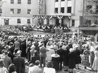 People gather in front of then-new St. Clare's Hospital for a cornerstone ceremony on Sunday, June 13, 1948. Photo courtesy Efner History Center.