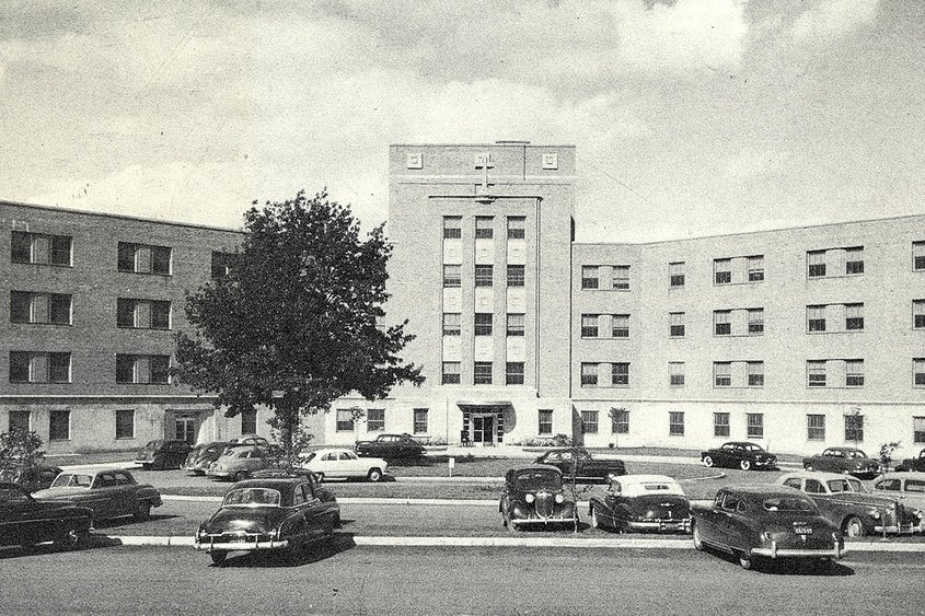 St. Clare's Hospital in Schenectady as it looked during the early 1950s. Photo courtesy Efner History Center, City Hall