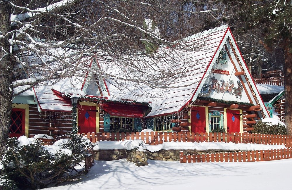 Fresh snow at Santa's house means the man in red is  ready for the holiday season at Santa's Workshop in North Pole, N.Y., outside Wilmington. Photo courtesy Santa's Workshop, North Pole