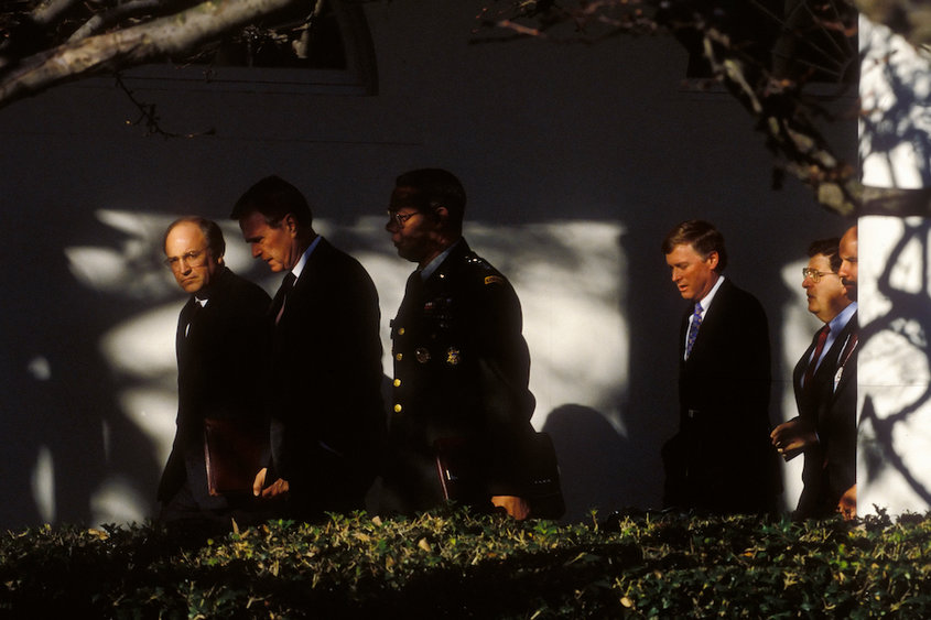 FILE -- President George H.W. Bush with Defense Secretary Dick Cheney; Gen. Colin Powell, chairman of the Joint Chiefs of Staff; Vice President Dan Quayle; and John Sununu, his chief of staff, at the White House in Washington, June 1, 1991. Bush, the 41st president of the United States and the father of the 43rd, who steered the nation through a tumultuous period in world affairs but was denied a second term after support for his presidency collapsed under the weight of an economic downturn, died on Nov. 30, 2018. He was 94. (Stephen Crowley/The New York Times)