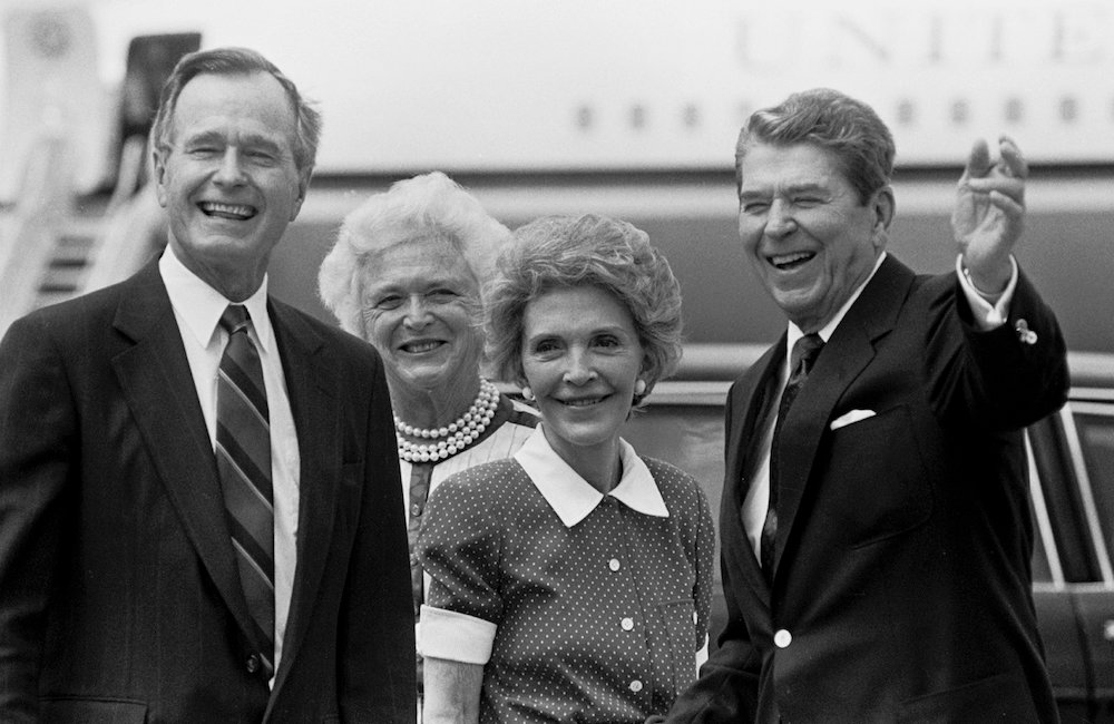 FILE -- From left: Vice President George H.W. Bush, his wife Barbara, first lady Nancy Reagan and President Ronald Reagan in New Orleans for the 1988 Republican National Convention. Bush, the 41st president of the United States and the father of the 43rd, who steered the nation through a tumultuous period in world affairs but was denied a second term after support for his presidency collapsed under the weight of an economic downturn and his seeming inattention to domestic affairs, died on Nov. 30, 2018. He was 94. (Paul Hosefros/The New York Times)
