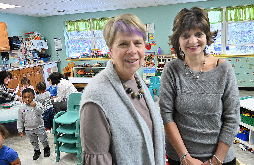 MARC SCHULTZ/GAZETTE PHOTOGRAPHER A Magic Kingdom Nursery and Day Care Center Sue Ellen DeWeese and Kathy Papa in their 40th year.