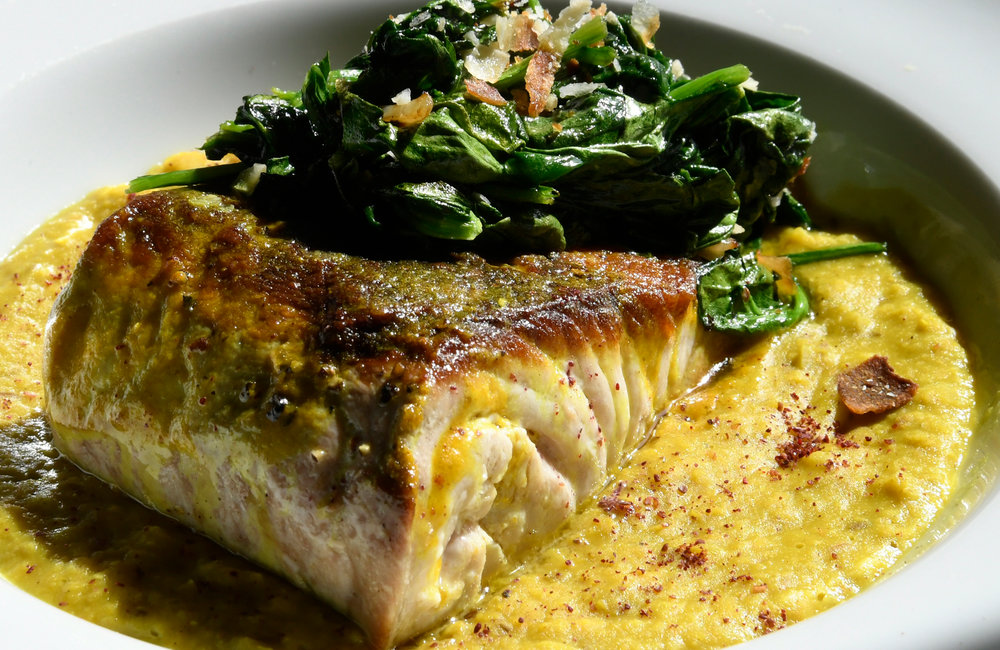 PETER R. BARBER/GAZETTE PHOTOGRAPHER Pan roasted Amberjack over Mansoor Dahl at The Table Restaurant in Fort Plain Wednesday, April 17, 2019.