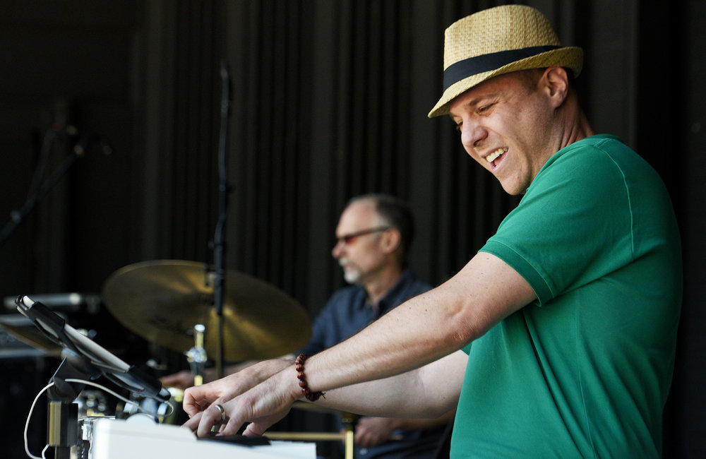 ERICA MILLER/GAZETTE PHOTOGRAPHER   David Gleason on piano with Jazz Vibes, performs onstage during the inaugural Discover Schenectady's Summer Kick Off Event at Music Haven in Schenectady's Central Park in Schenectady on Saturday, June 7, 2019.