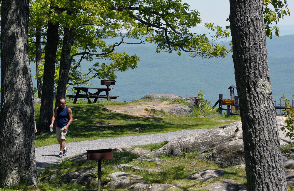 ERICA MILLER/GAZETTE PHOTOGRAPHER   Views of Lake George from Prospect Mountain from the outlook view stops, in Lake George on Sunday, June 9, 2019.