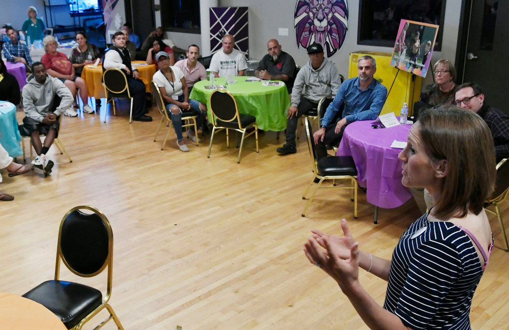 PETER R. BARBER/GAZETTE PHOTOGRAPHER Kristi Miller of the Schenectady Foundation discusses the Thriving Neighborhood Challenge at the Electric City Barn on Craig Street Tuesday, September 17, 2019.