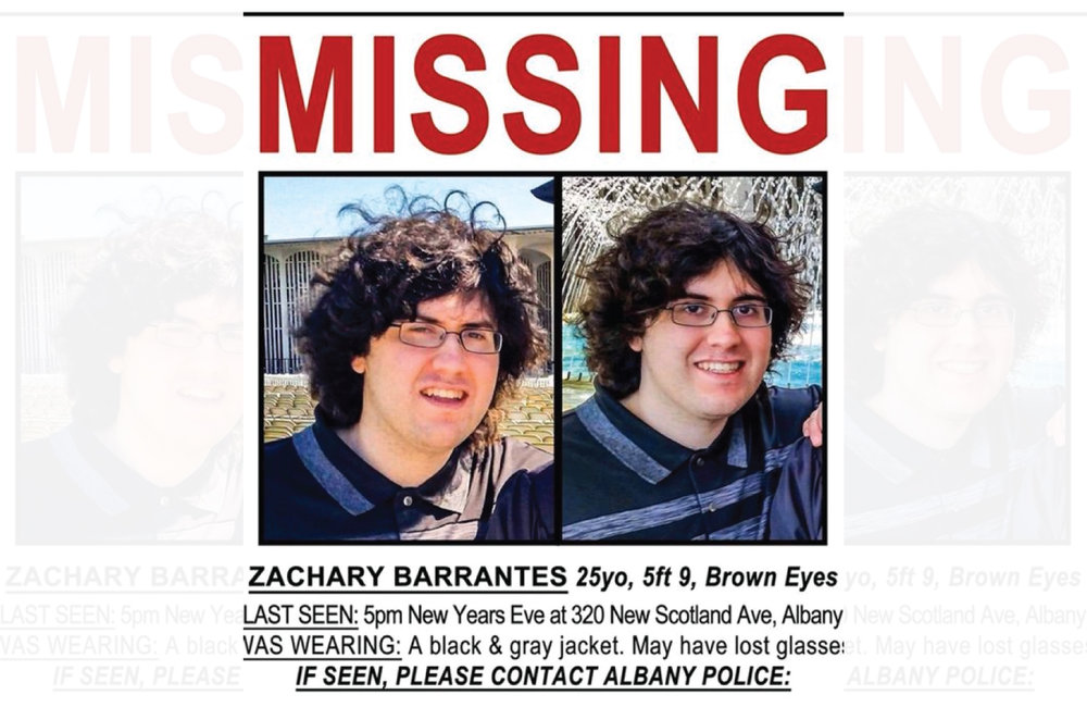 A missing poster for Zachary Barrantes tweeted by Albany County Sheriff Craig D. Apple.