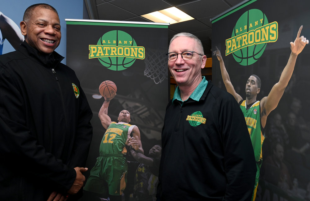 MARC SCHULTZ/STAFF PHOTOGRAPHER Albany Patroons head coach Derrick Rowland and Patroons owner Dr. Tim Maggs in headquarters in Schenectady.