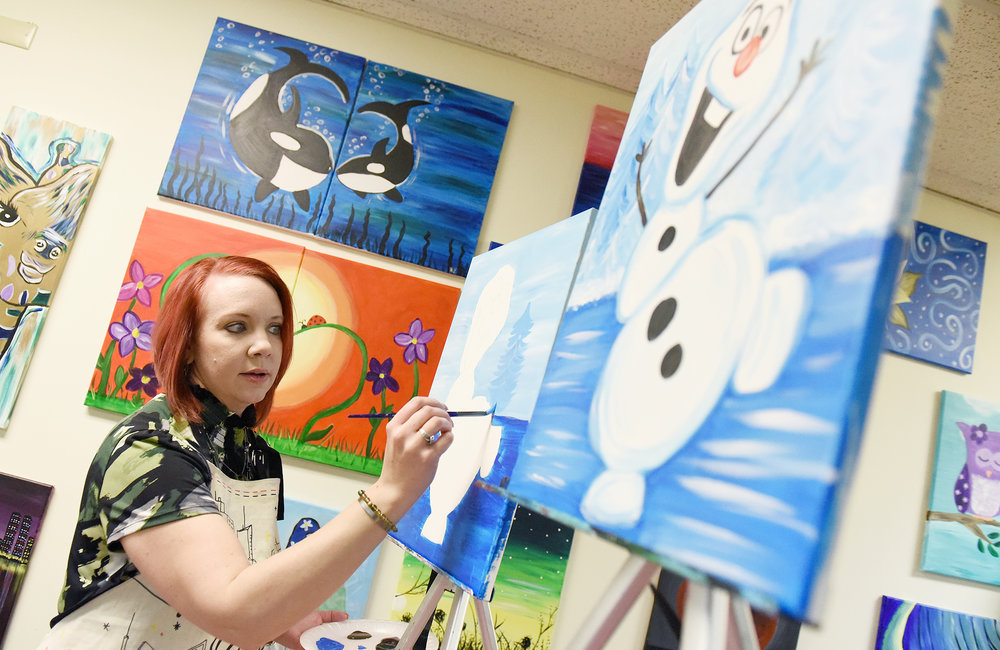ERICA MILLER/STAFF PHOTOGRAPHER   Paint-N-Gogh owner Heather Heigl works on a piece during a class at her studio on Milton Ave in Ballston Spa on Sunday, January 26, 2020.